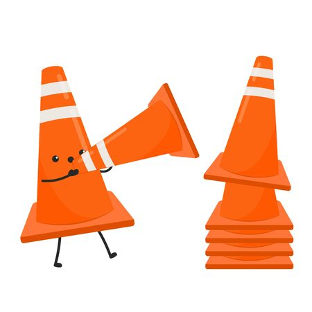 Traffic cone vector. Traffic cone character design.