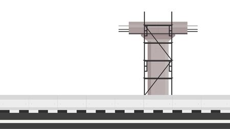Electric train road vector. Construction. Railroad train vector. scaffolding vector. free space for text. copy space.