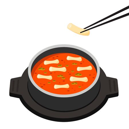Tteokbokki Noodle vector, korean food. Spicy rice cake.