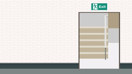 stair vector. exit door vector. free space for text. wallpaper. background. Vecteurs