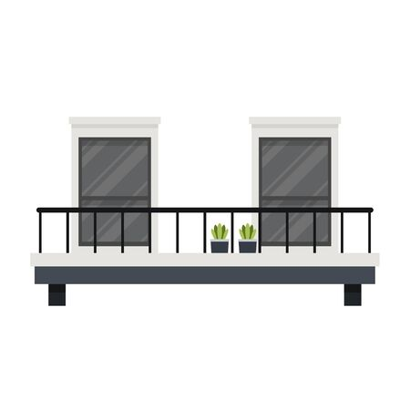 Balcony cartoon vector. Japanese style.
