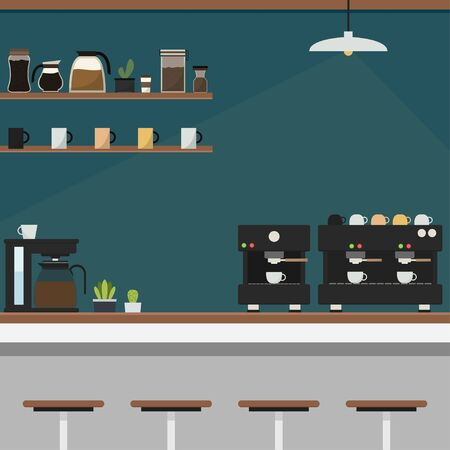 Coffee bar vector. free space for text. wallpaper. background.