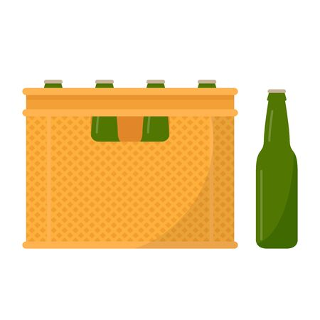Crate vector. free space for text. wallpaper. Bottle in crate.