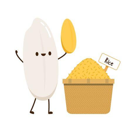 Rice character design. rice vector on white background. rice seed. Rice bucket. 版權商用圖片 - 148095378