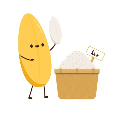 Rice character design. rice vector on white background. rice seed. Rice bucket.