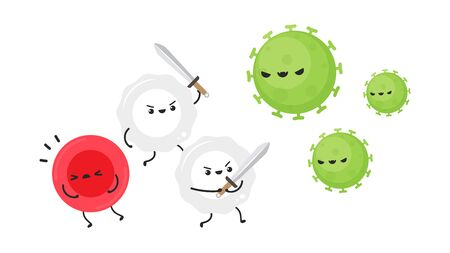 White blood cell and bacteria character design. White blood cell on white background. Red blood character. Çizim