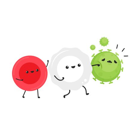 White blood cell and bacteria character design. White blood cell on white background. Red blood character. Vectores