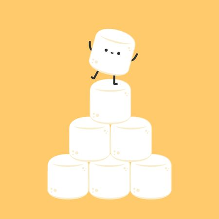 Marshmallow character. wallpaper. free space for text. logo design.