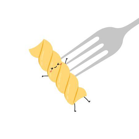 Pasta noodles character design. Pasta noodles on white background. fork vector. Иллюстрация