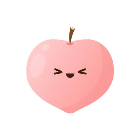 Peach character. peach on white background.