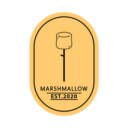 Marshmallow logo design. free space for text. Marshmallow doodle symbol. 向量圖像