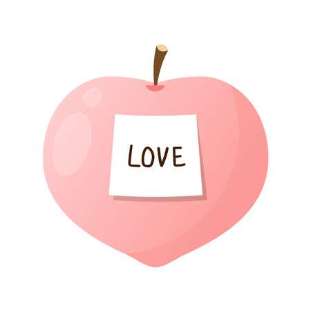 Peach vector. Peach heart vector. Peach on white background. Peach logo design. 向量圖像