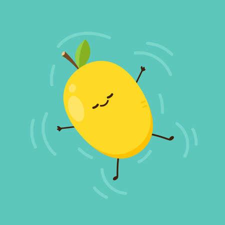 Mango character design. Mango vector on white background. Mango in the pool. 向量圖像