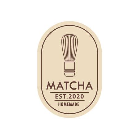 Matcha whisk logo. Matcha logo design.