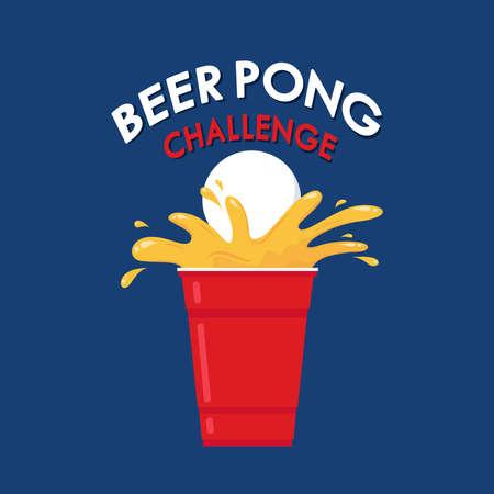Red beer cup vector. Beer pong poster design. Vettoriali