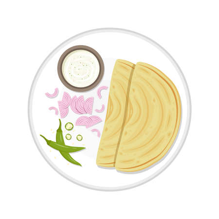 Chapati vector. Chapati on white background. chili and onion vector.