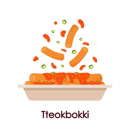 Tteokbokki noodle in paper plate. Korean food. Spicy rice cake. Tteokbokki on Pick vector.