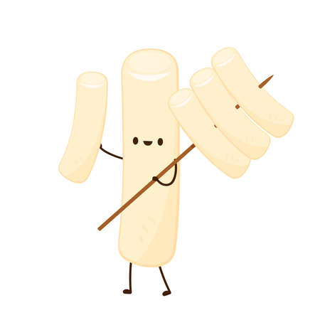 Tteokbokki noodle vector. Tteokbokki character design. Spicy rice cake. Çizim