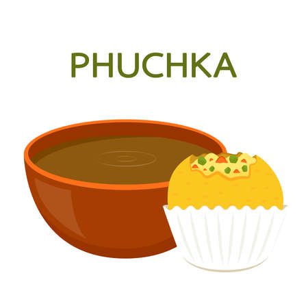 Phuchka is indian food. Gol gappe cartoon vector on white background.