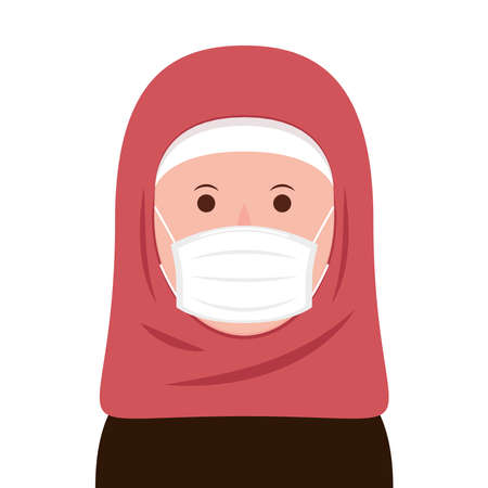 Islamic women wearing a face mask correctly. Face mask vector. 向量圖像