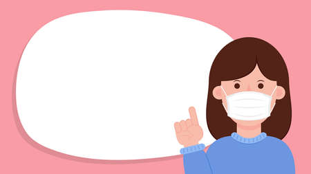 Woman wearing a face mask correctly. Face mask vector. 向量圖像