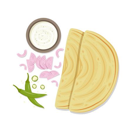 Chapati vector. Chapati on white background. chili and onion vector.