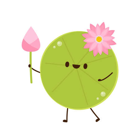 Lily pad character design. Lotus flower.