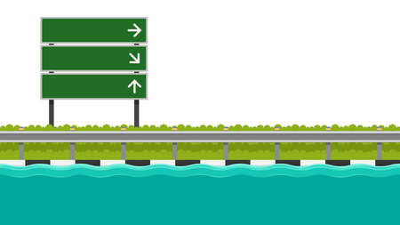 Steel Road vector. free space for text. Road flooding.
