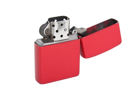 red metal lighter isolated on a white background Stok Fotoğraf