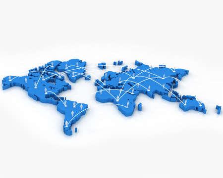 Human Network on World Map Stock Photo - 6635575