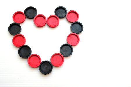romance strategies: Heart sign from checkers game Stock Photo