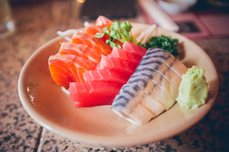 Japanese fresh Sashimi, served with wasabi