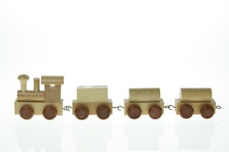 model houten trein op een witte achtergrond Stockfoto