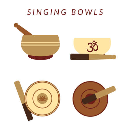 Set of four tibetan singing bowls isolated on white backgrond. Healing msic and meditation. Vector flat illustration.