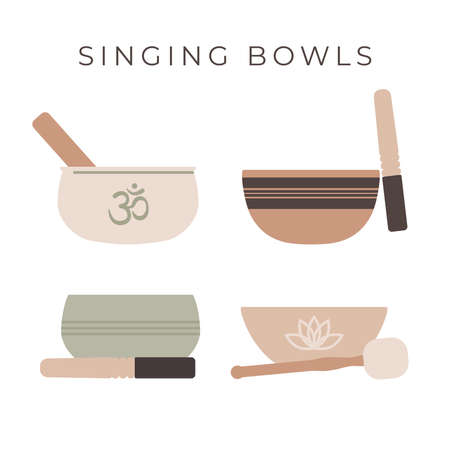 Tibetan singing bowls. Set of four diffenent forms of healing bowls isolated on white backgrond. Vector flat illustration