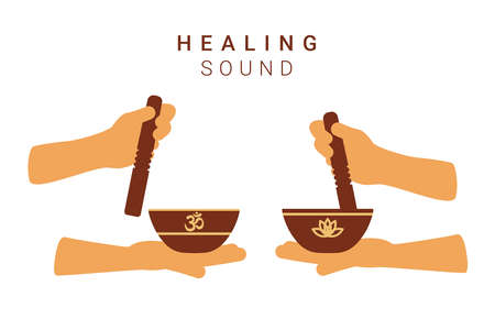 Tibetan singing bowls in human hands with resonators. Vector flat illustration
