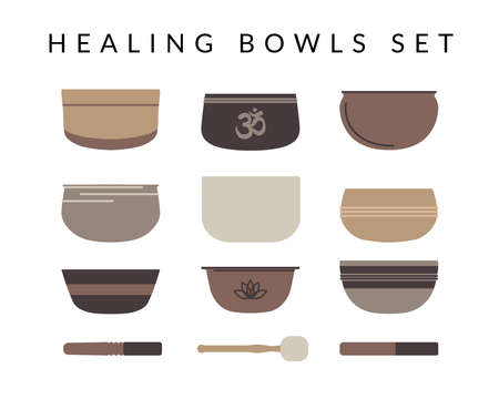 Set of nine different tibetan singing bowls and three resonators isolated on white backgrond. Ayuverda, meditation and relaxation. Vector flat illustration