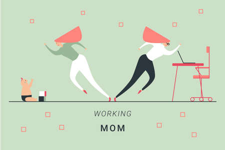 Working mother difficulties concept. Mum that tryes to work and to calm down her crying baby. Flat vector illustration.