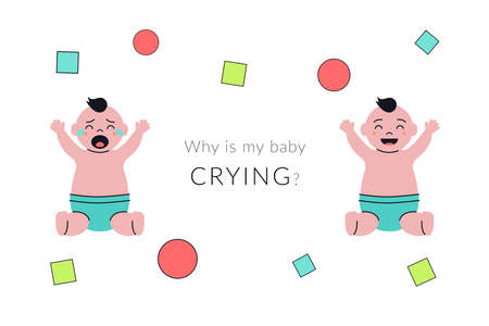 Baby boy is crying and smiilng. Poster or banner concept