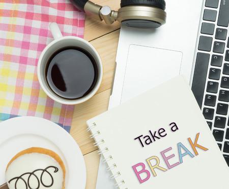 take a break: Take a Break concept in pastel cafe background
