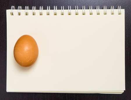 blinder: Raw Egg on a blank blinder note book.