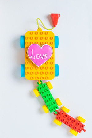 Love heart cooking on block toy train