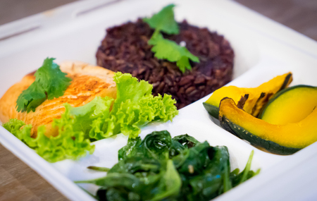 take out food: Clean Food Salmon set with rice berry take out Stock Photo