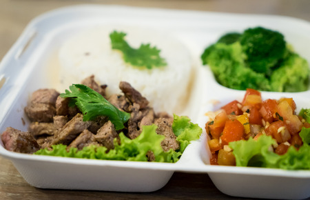 out of the box: Healthy Beef with vegetable in a take out box