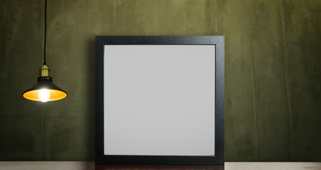 home accent: Photo Frame on grunge background with ceiling light
