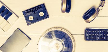 harddrive: Vintage technology entertainment devices. Stock Photo