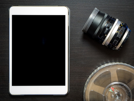 blank tablet: Tablet Video Recording blank screen Stock Photo