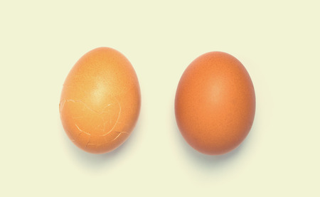 aligning: 2 Eggs aligning on white background. a Stock Photo