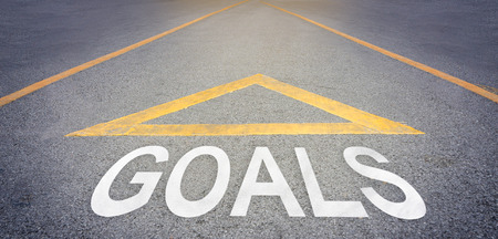 rough road: Goals with arrow direction on rough road concept Stock Photo