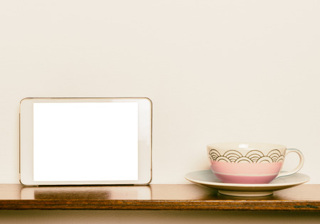 blank tablet: blank Tablet screen with tea cup background